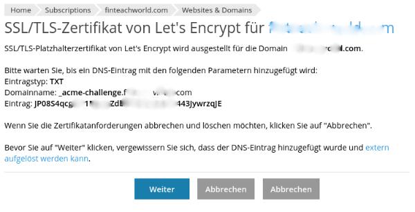 Wildcard SSL mit Let's Encrypt und Plesk: Screenshot des notwendigen DNS-Eintrags